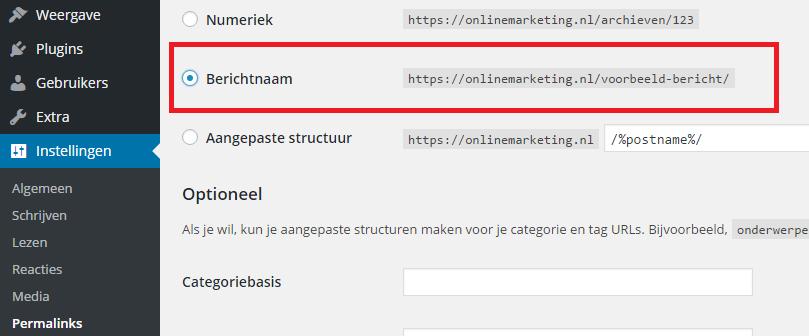 Instellen korte permalink WordPress