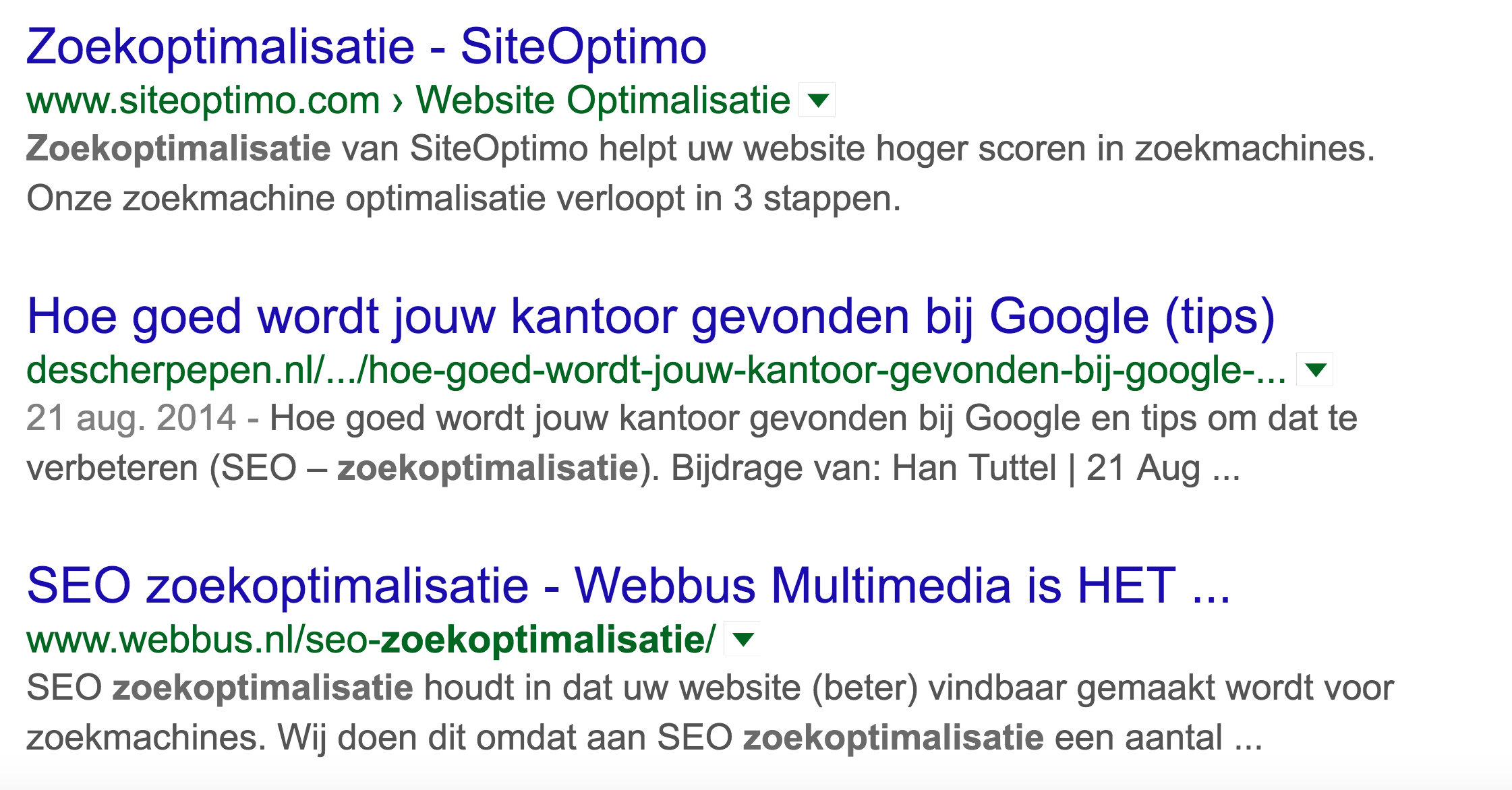 zoekoptimalisatie gezocht in Google