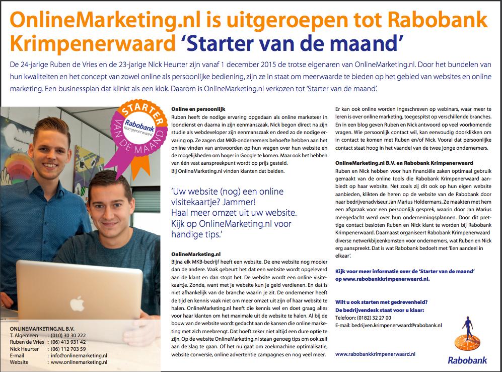 OnlineMarketing.nl - Afbeelding starter van de maand - Rabobank