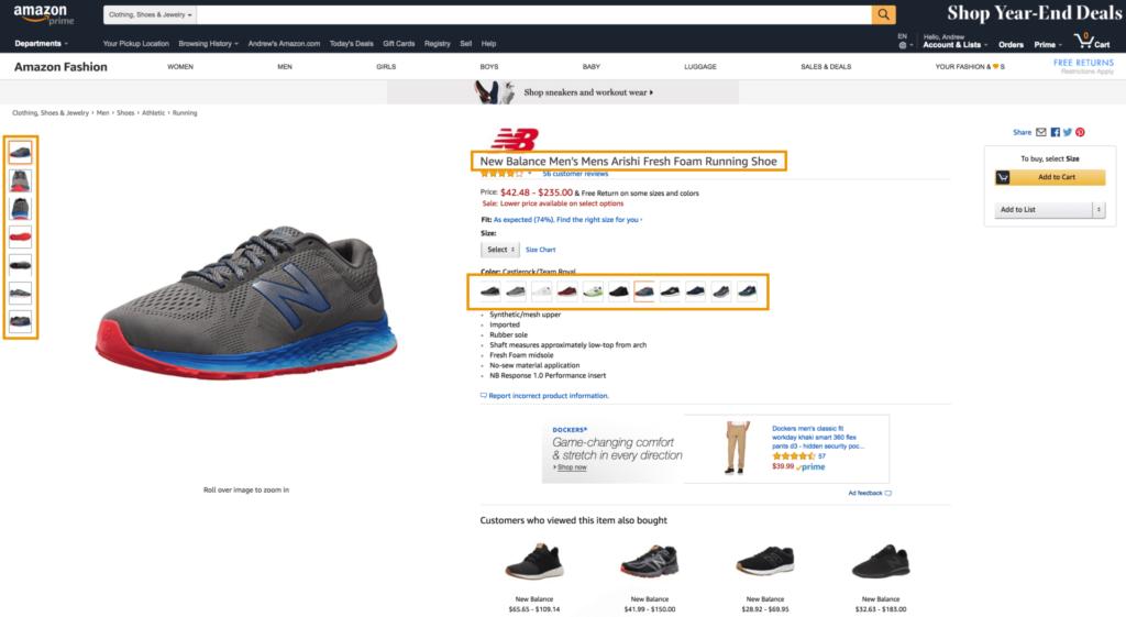 Amazon SEO productpagina