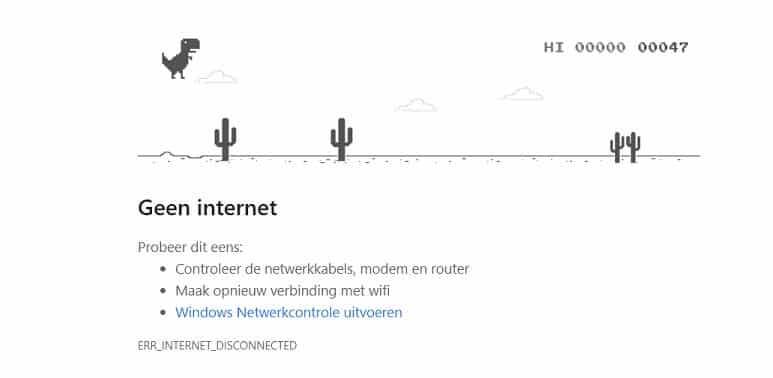 De Google dino: een easter egg dat tevoorschijn komt wanneer je offline probeert naar een site te surfen