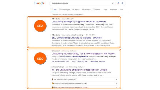 Hier zie je het verschil tussen de betaalde en gratis resultaten in Google
