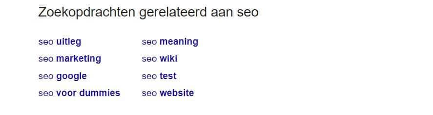 Deze gerelateerde zoektermen helpen je op weg in je zoekwoordonderzoek
