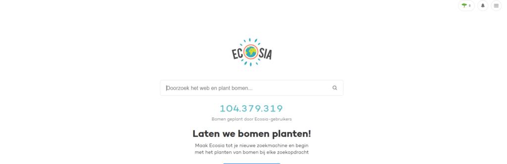 Ecosia is een andere zoekmachine dan google waarmee je bomen plant door te zoeken