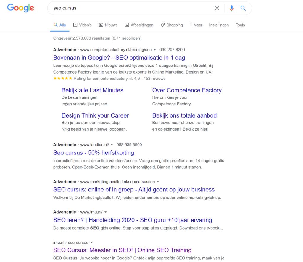 Een voorbeeld van een SEO cursus die zelf goed scoort in Google