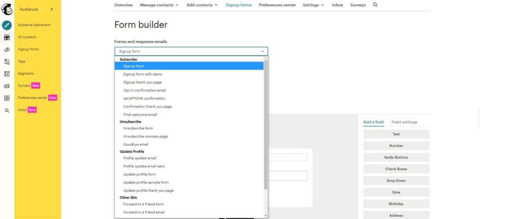 Dit screenshot laat zien hoeveel verschillende stappen er gezet kunnen worden bij het maken van één form in Mailchimp
