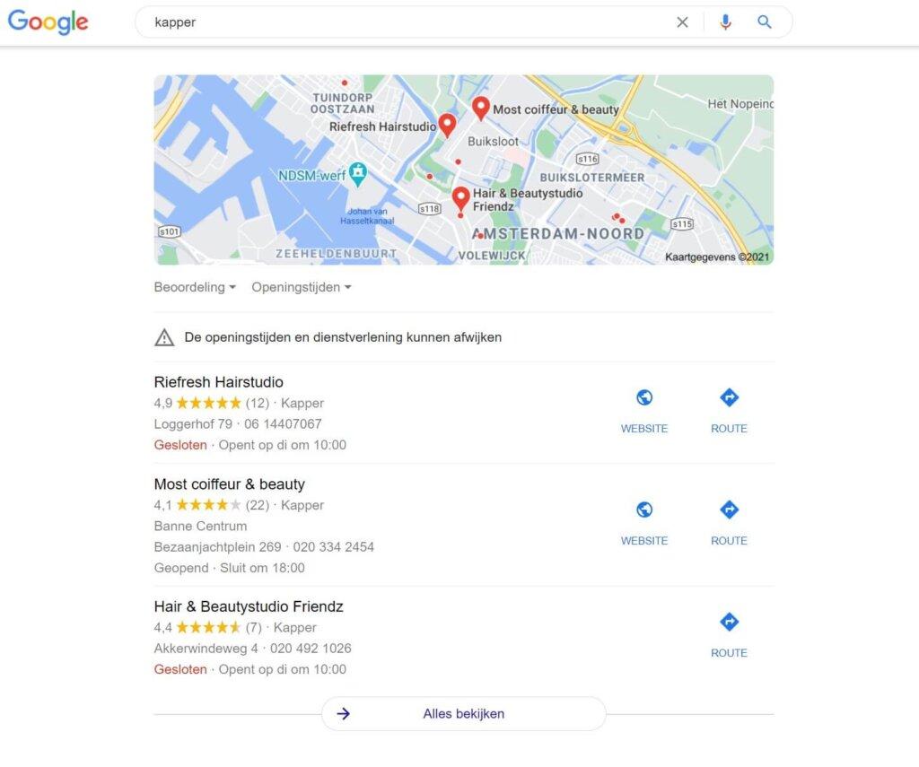 een voorbeeld van lokale zoekresultaten op de SERP