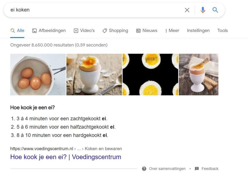 een voorbeeld van schema markup zoekresultaten die direct laten zien hoe iets moet