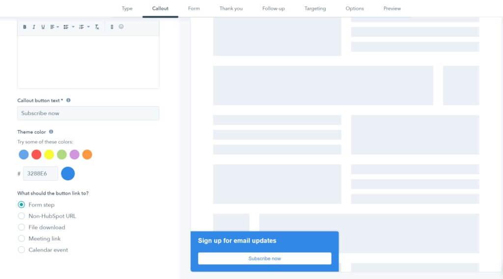 Een screenshot van de hubspot wordpress pop-up plug-in