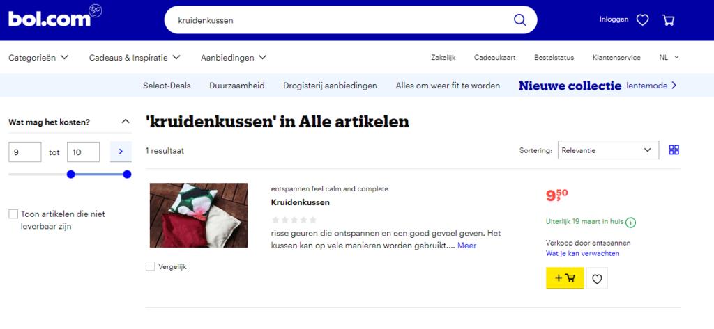 bol.com concurrentie op kruidenkussens